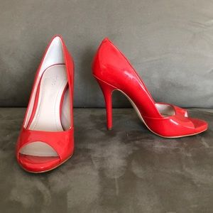 BCBGeneration Red Patent Heel Open Toe - size 6